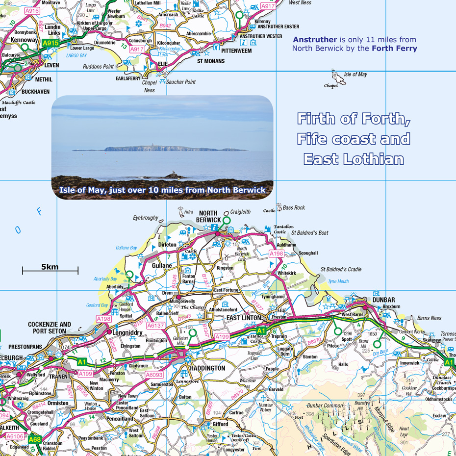 Firth of Forth, Fife coast and East Lothian map