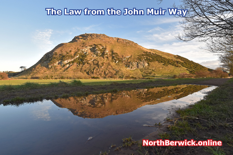 North Berwick Law from John Muir Way (flooded path)