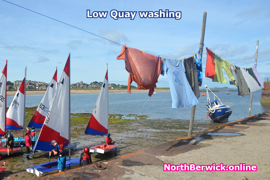 North Berwick Low Quay with yachts/dinghies and washing on line